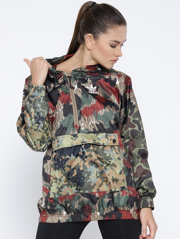 99c770d15a60 ADIDAS Originals Women Green   Black Printed Windbreaker Hooded Bomber  Jacket