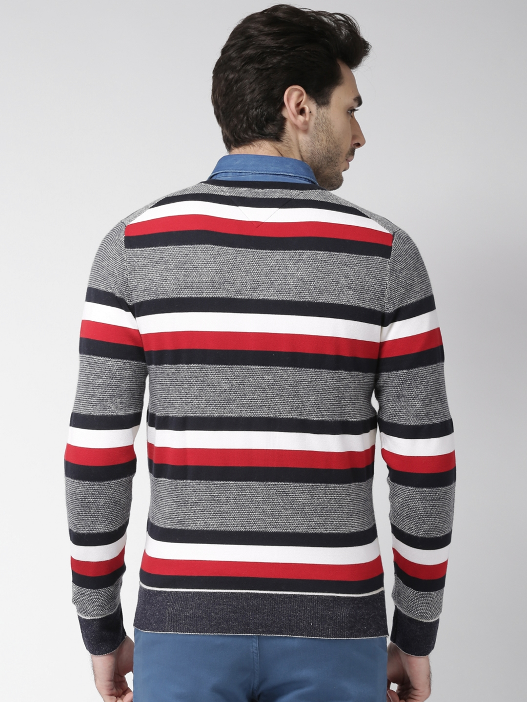 5b850a75 Buy Tommy Hilfiger Men Navy Blue & Red Striped Sweater - Sweaters ...