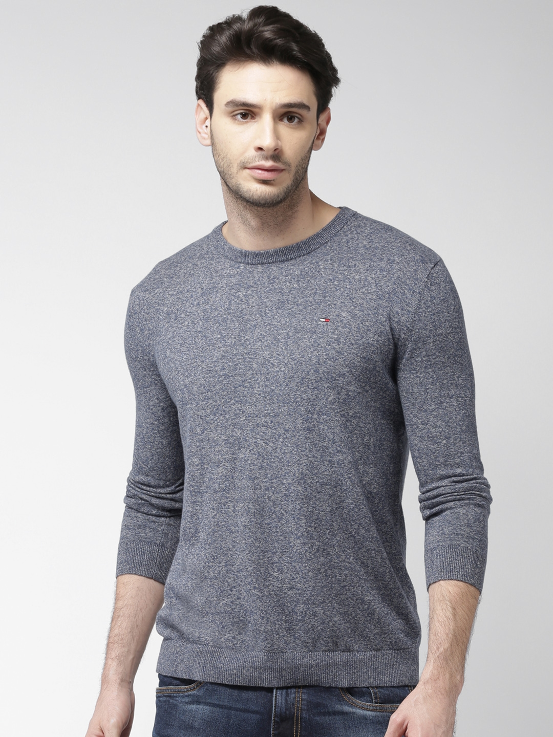 Buy Tommy Hilfiger Men Navy Blue Solid Pullover - Sweaters for Men ... 26d10483a6
