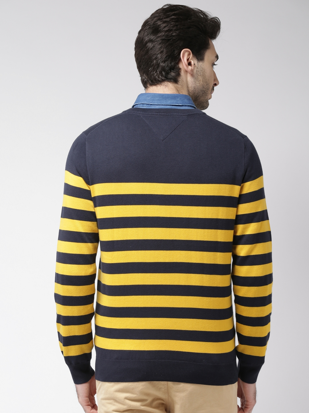 Buy Tommy Hilfiger Men Navy Blue Yellow Striped Sweater Sweaters