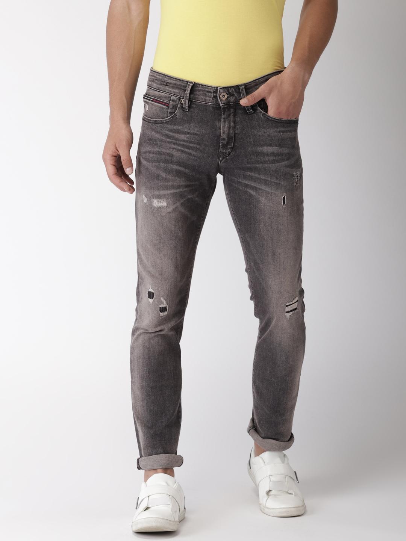 043b6abcc1d3 Tommy Hilfiger Men Grey Scanton Slim Fit Mid-Rise Mildly Distressed  Stretchable Jeans