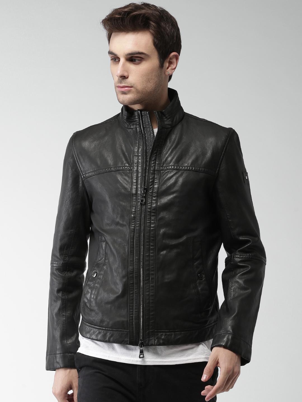 dd373f2d2 Buy Tommy Hilfiger Men Black Solid Leather Jacket - Jackets for Men ...