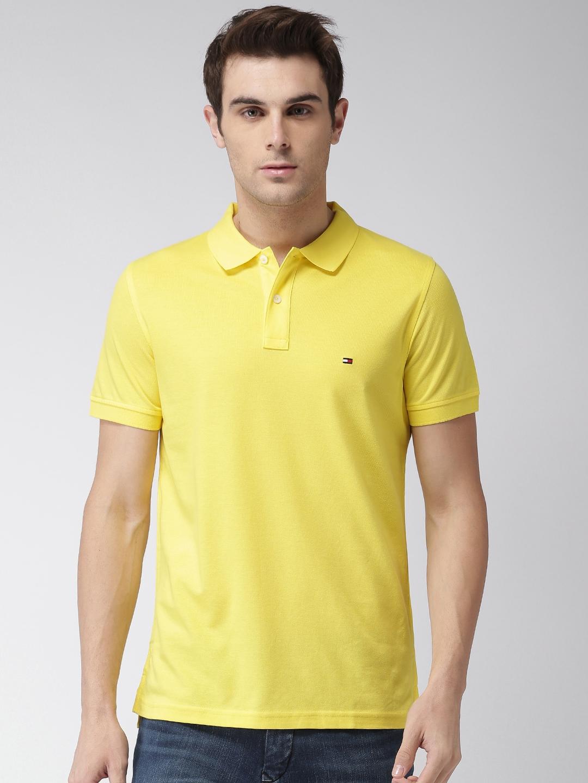 fd903653 Buy Tommy Hilfiger Men Yellow Self Design Polo Collar T Shirt ...