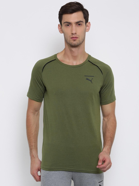 af39690f7dd Buy Puma Men Olive Green Solid Evo Core Round Neck T Shirt - Tshirts ...