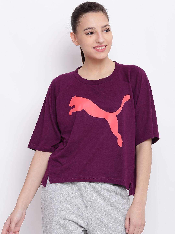b1fb9852b10 Buy Puma Women Purple Transition Printed Round Neck Boxy T Shirt ...