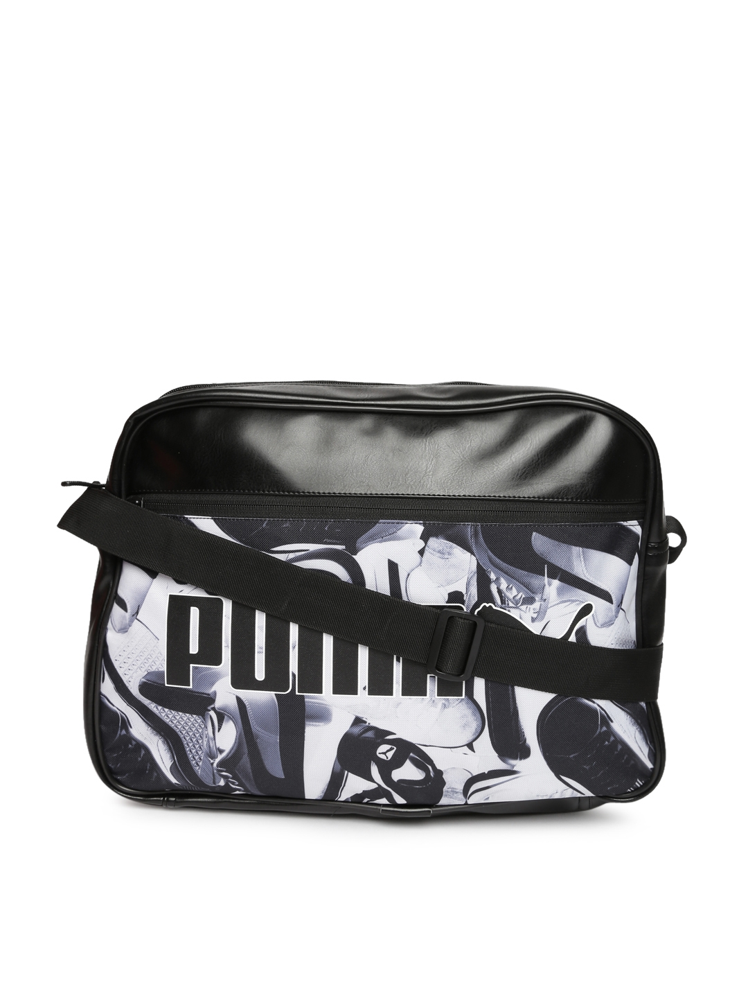 a22c0cb4a9 Buy Puma Unisex Black   White Printed Campus Reporter Laptop Bag ...