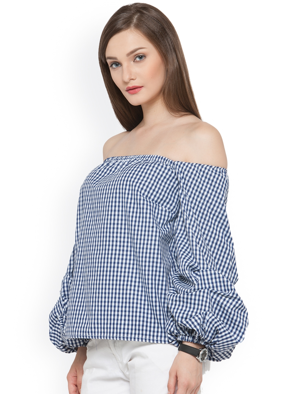 0973ecd06557aa Buy Envy Me Women Navy   White Checked Bardot Top - Tops for Women ...