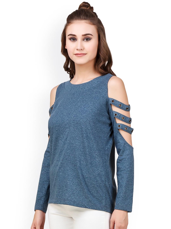 e26b2b3e7edca Buy Texco Women Navy Self Design Cold Shoulder Top - Tops for Women ...