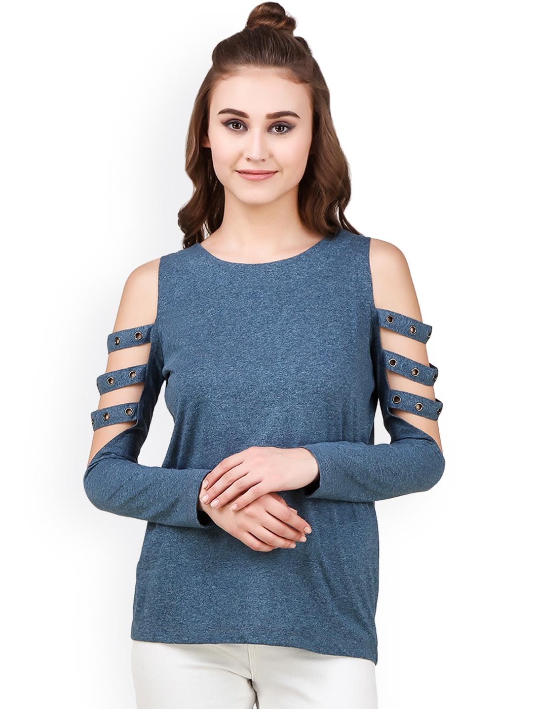 5db50c3d590b35 Buy Texco Women Navy Self Design Cold Shoulder Top - Tops for Women ...