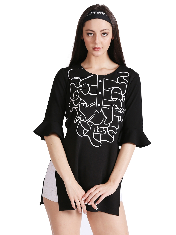 Noi Women Black Printed Bell Sleeve Top