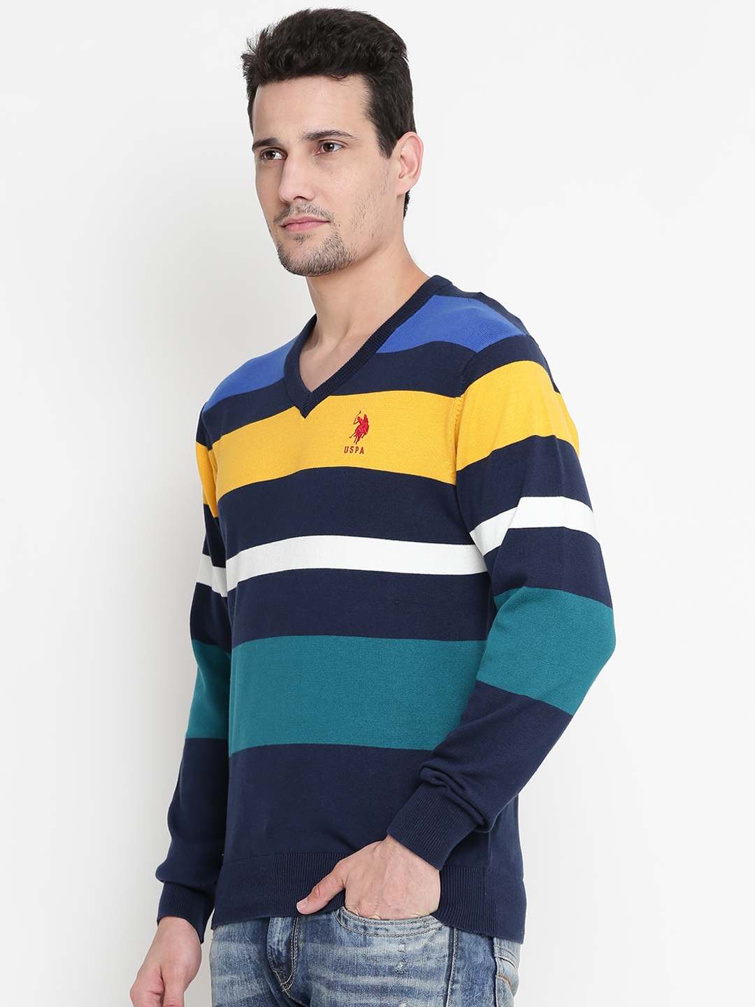 Buy Us Polo Assn Men Blue Mustard Yellow Striped Sweater