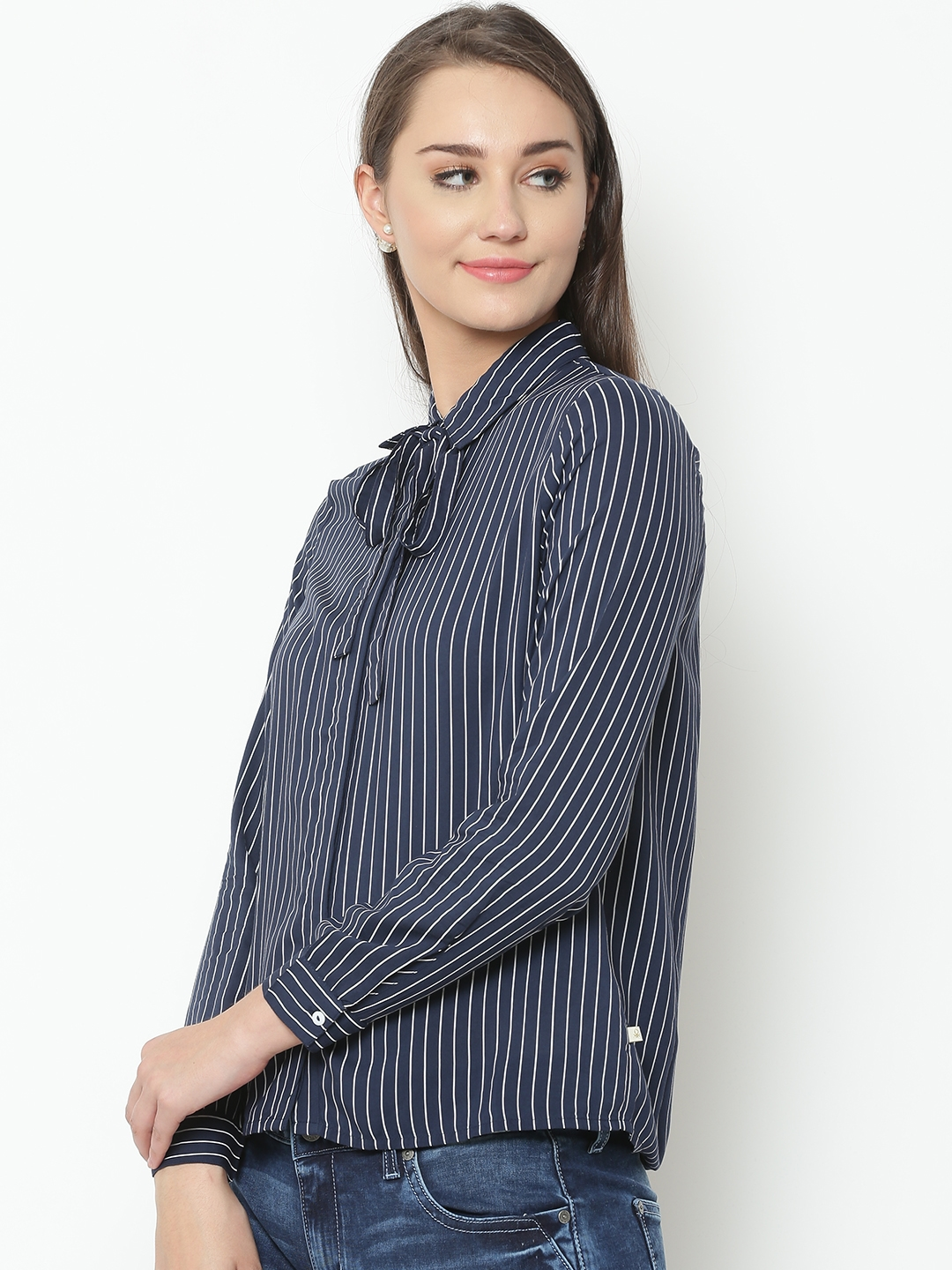 5276b374a Buy United Colors Of Benetton Women Navy & White Striped Casual ...