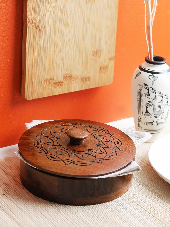 VarEesha Brown Hand Carved Sheesham Wood Multipurpose Casserole Box