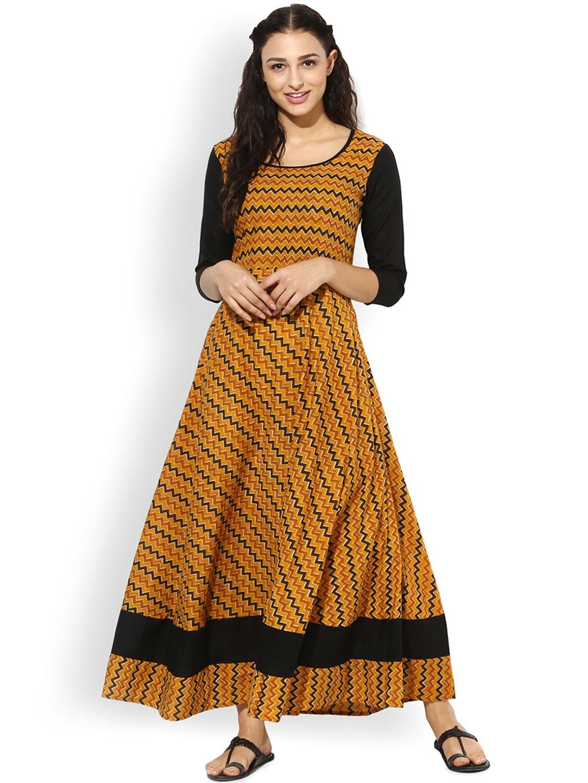 2db9bbda07f Buy AKS Women Mustard Yellow   Black Printed Maxi Dress - Dresses for Women  2095428