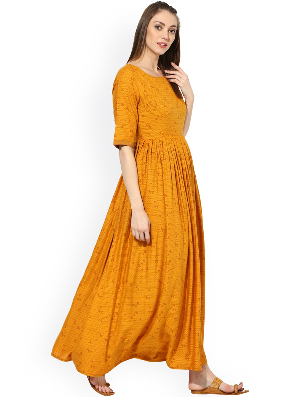 a49a0fcece7 Buy AKS Women Mustard Yellow Printed Maxi Dress - Dresses for Women ...