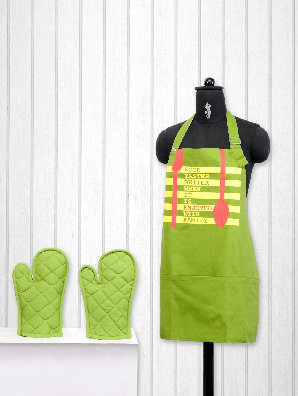SWAYAM Green Cotton Kitchen Linen Set