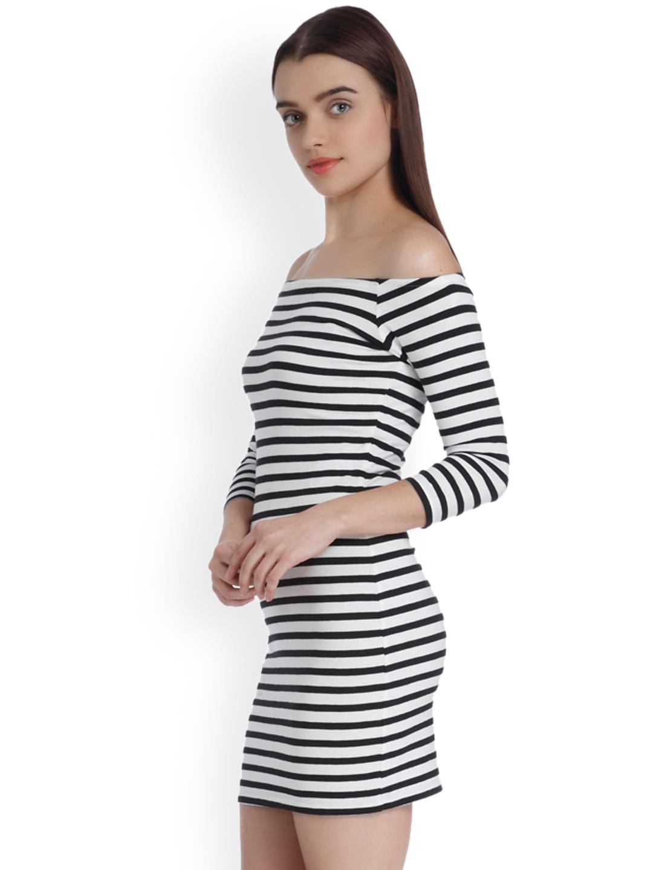 49a933b1c1f6 Buy Vero Moda Women Black   White Striped Off Shoulder Bodycon Dress ...