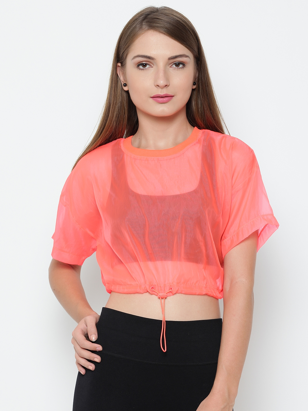 d54e426e3511bf Buy FOREVER 21 Women Neon Orange Solid Crop Sheer Top - Tops for ...