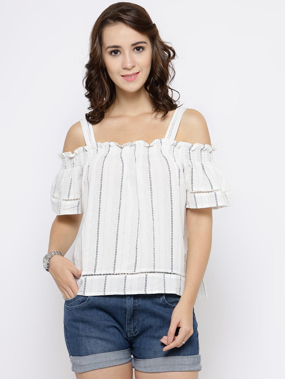 6dda321c4466d Buy FOREVER 21 Women Off White Cold Shoulder Striped Top - Tops for ...