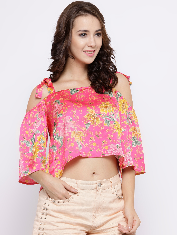 25cb571ccc4 Buy FOREVER 21 Women Pink Floral Print Crop Satin Finish Bardot Top ...
