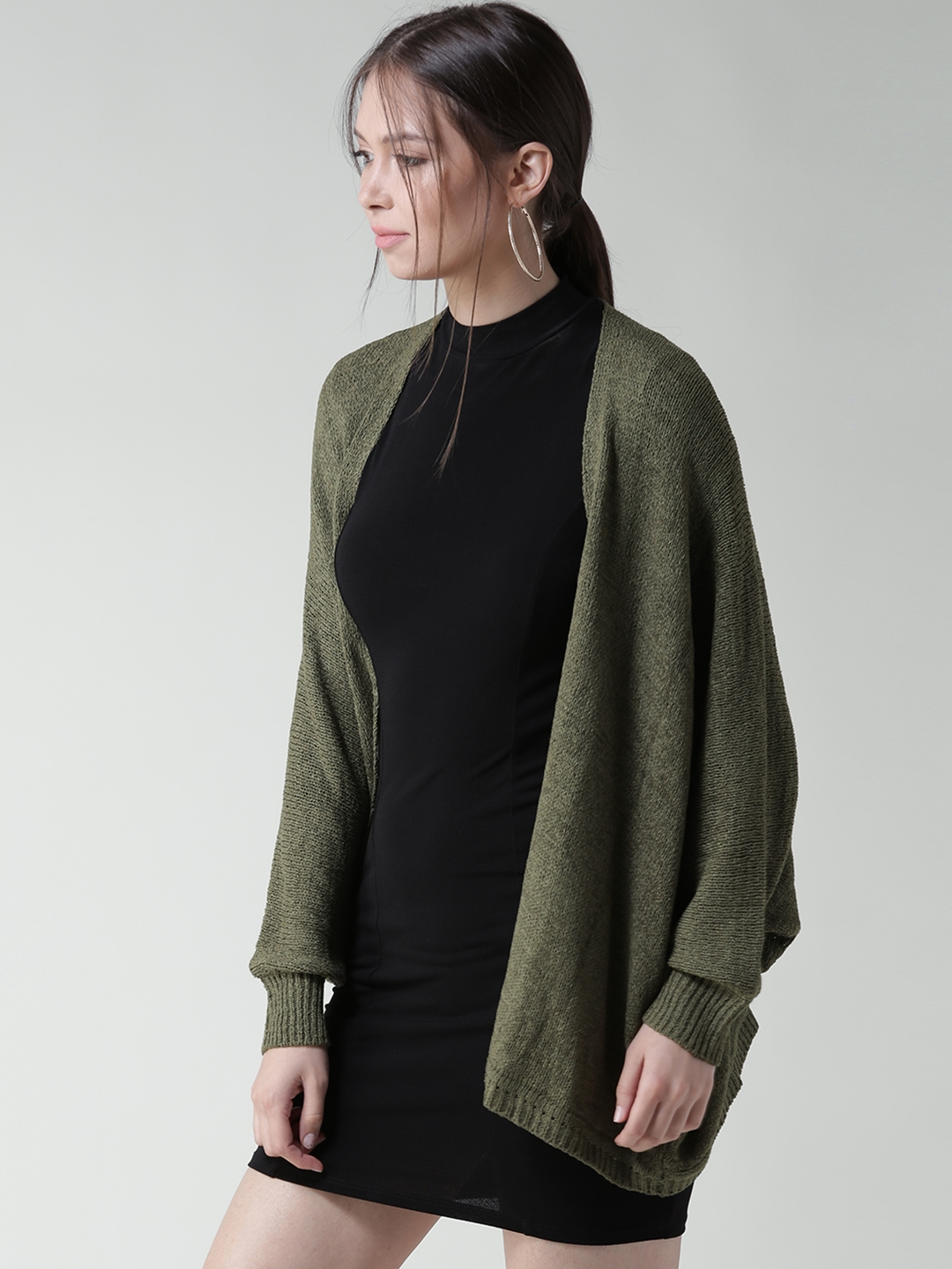 f097fe1b2b Buy FOREVER 21 Women Olive Green Solid Front Open Cardigan ...