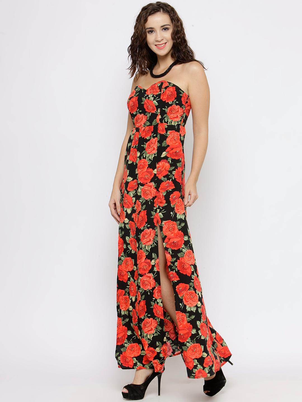 0fbb2ac45f5 Buy FOREVER 21 Women Black   Orange Floral Print Tube Maxi Dress ...