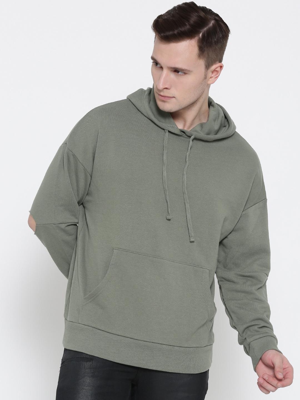 695150c138 Buy FOREVER 21 Men Olive Green Solid Hooded Sweatshirt - Sweatshirts ...