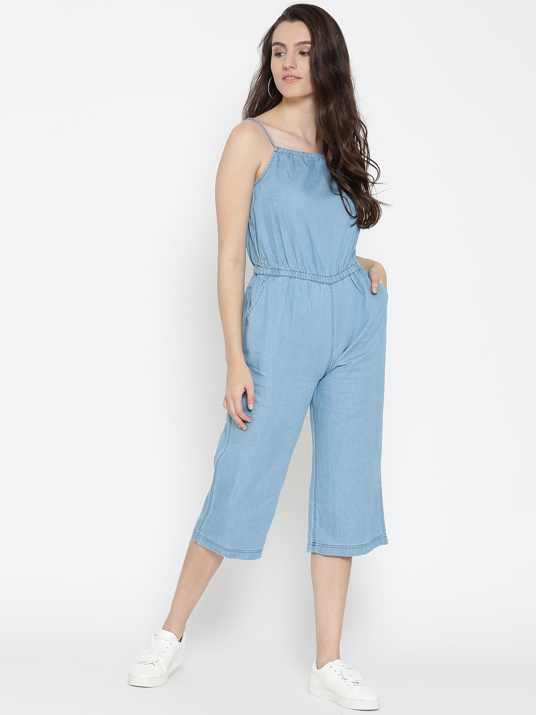 abe1469a4324 Buy DressBerry Blue Denim Capri Jumpsuit - Jumpsuit for Women ...