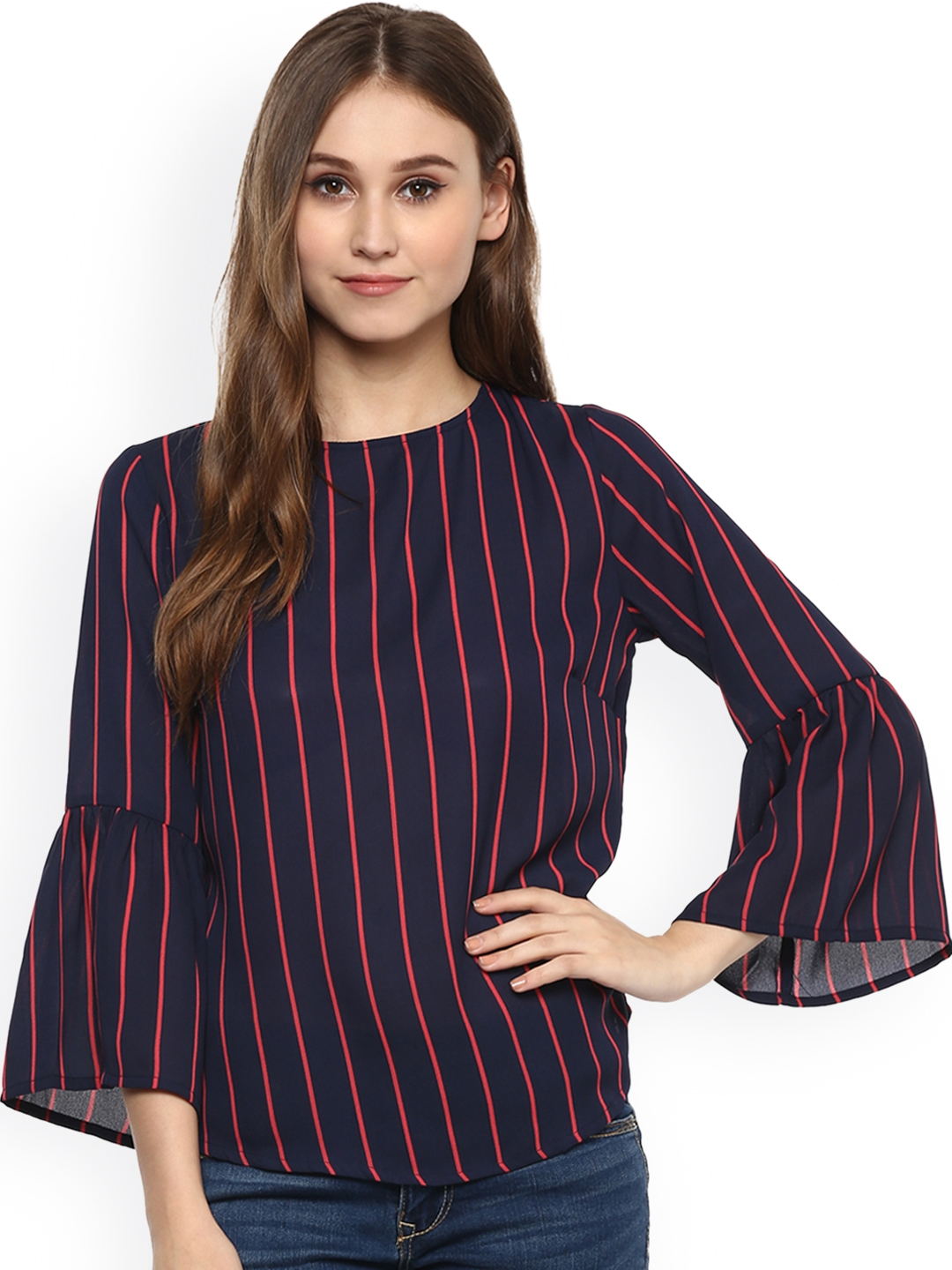 53a525fd379 Buy Harpa Women Navy Blue & Red Striped Top - Tops for Women 2102700 ...
