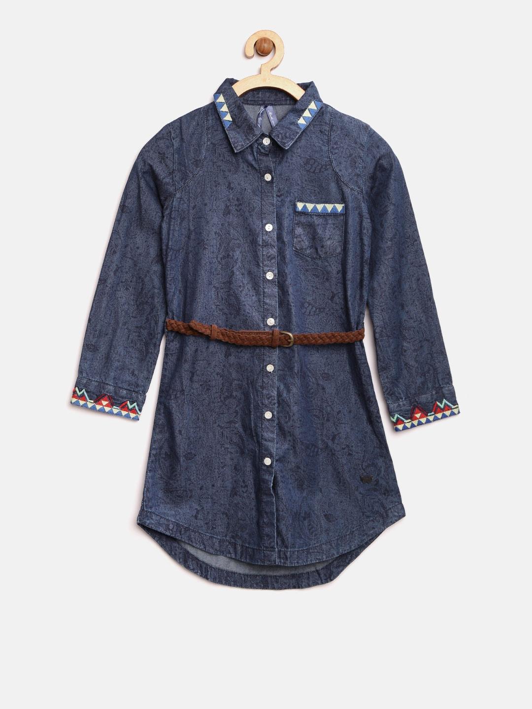 Buy blue giraffe girls navy printed denim shirt dress dresses jpg 1080x1440  Shirt dresses for girls 57d4d24865a7