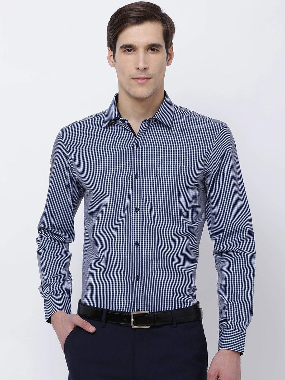 ed2fd7587181 Black coffee Men Navy Blue   White Comfort Slim Fit Checked Formal Shirt