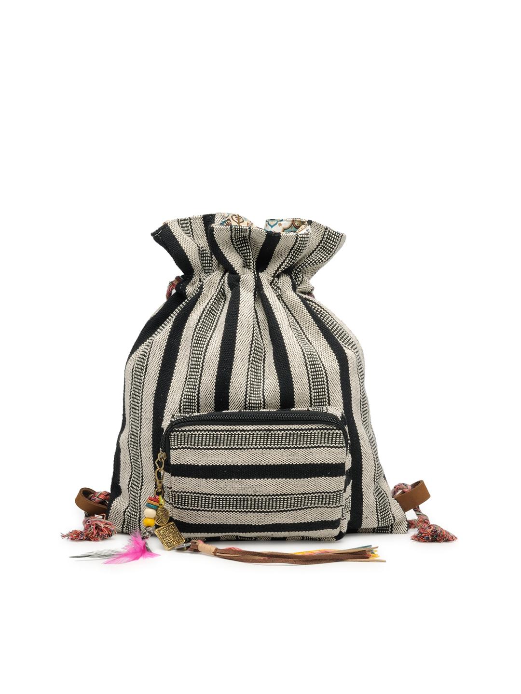 The House of Tara Women Grey   Black Self Striped Backpack