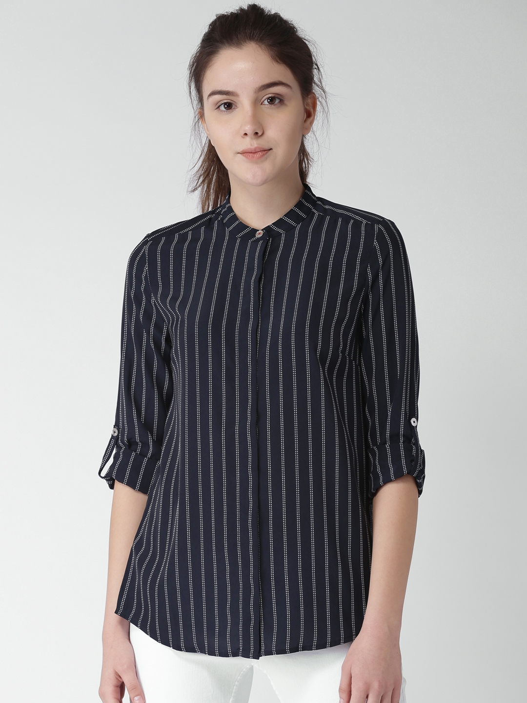 f59a1d91329 Buy Tommy Hilfiger Women Navy Blue Striped Shirt Style Top - Tops ...