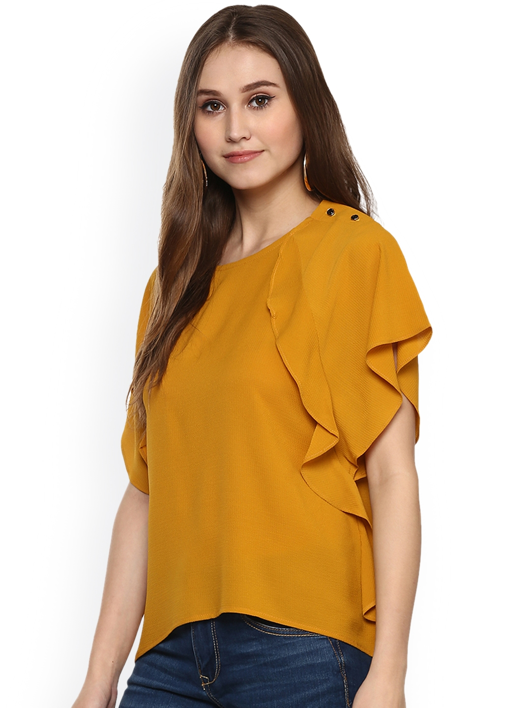 d3b02ff64bc5e1 Buy Harpa Women Mustard Yellow Solid Top - Tops for Women 2103862 ...