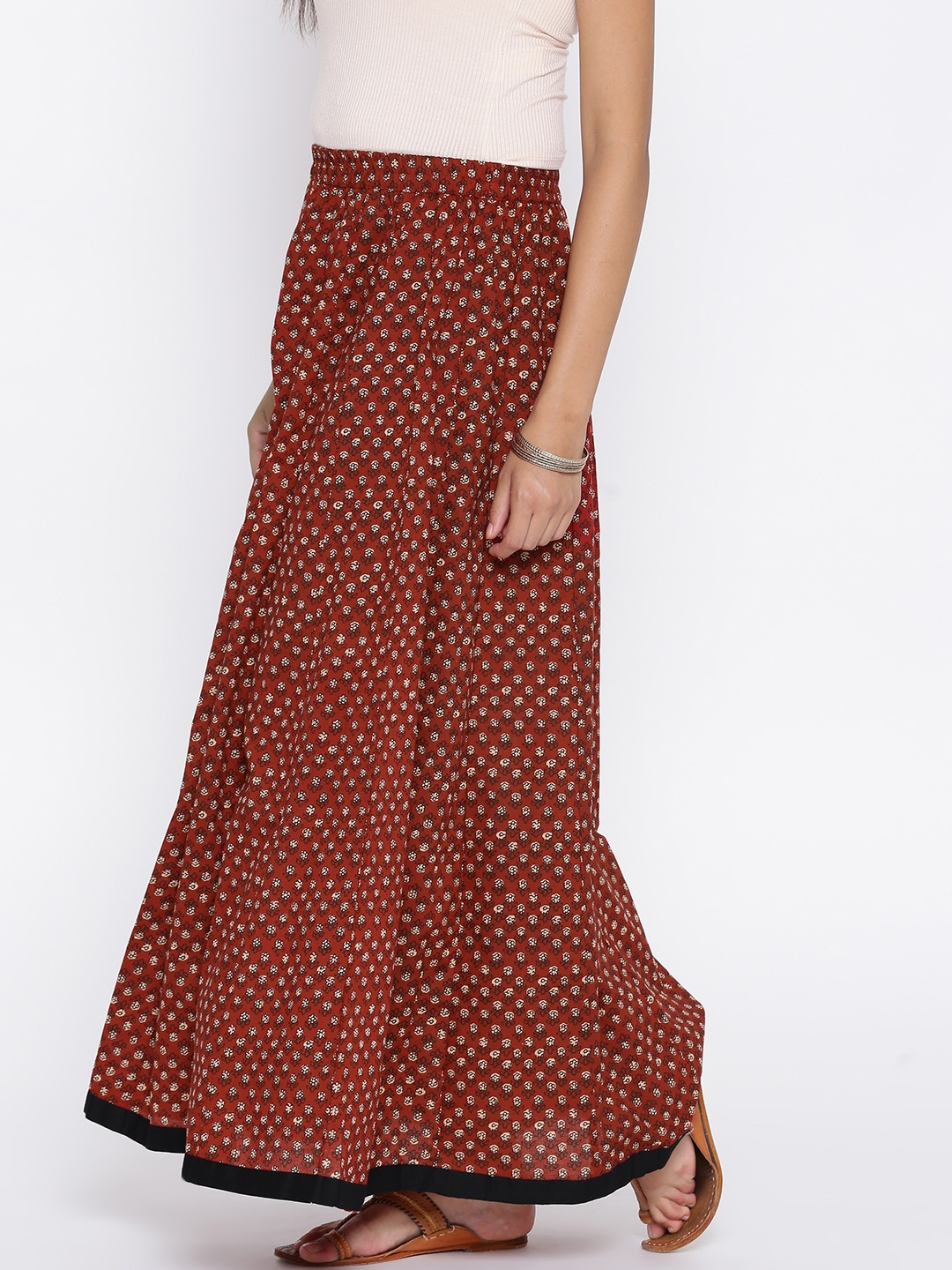9a78e3d006 Buy Aum Brick Red Floral Print Flared Maxi Skirt - Skirts for Women ...