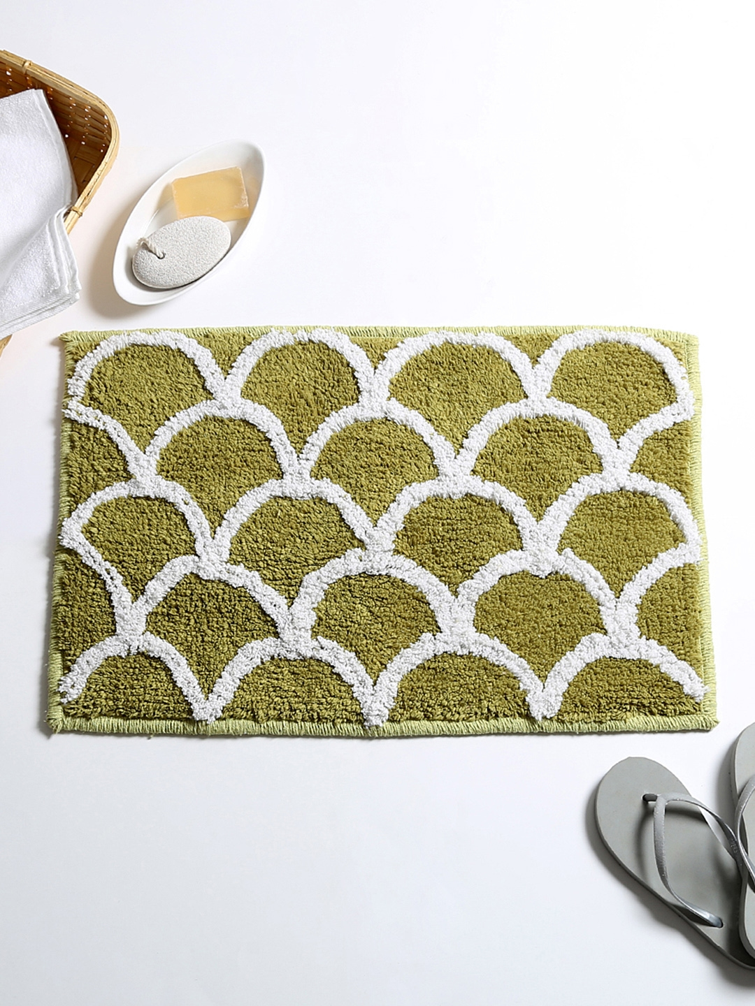 House This Green Patterned Cotton Rectangular Bath Rug