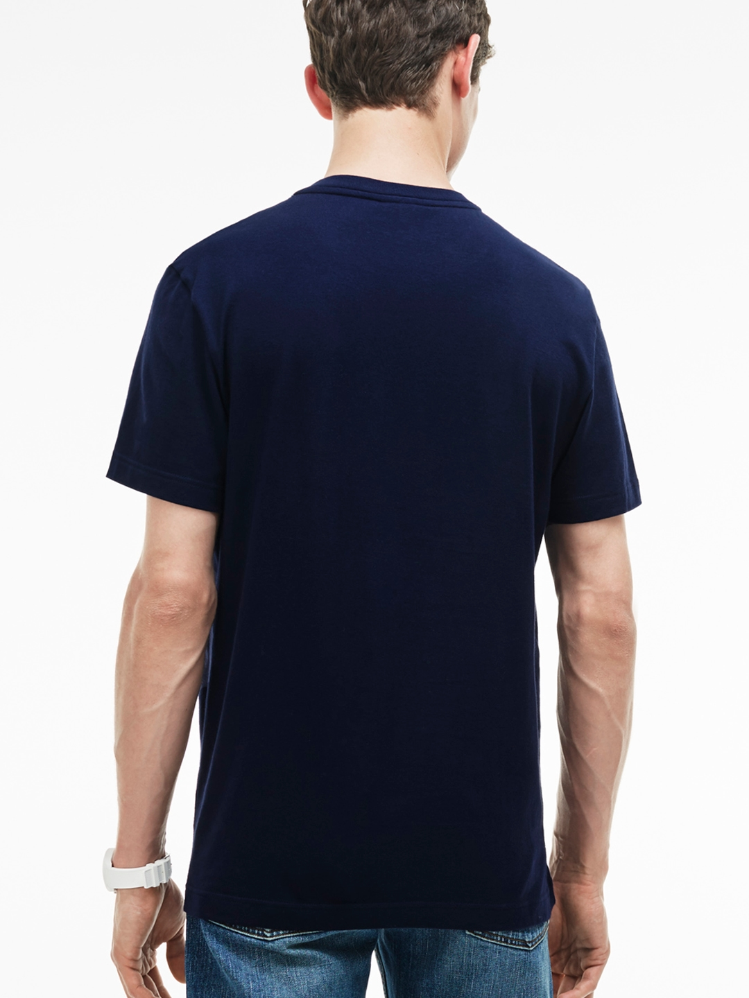 ed746e050461 Buy Lacoste Men Navy Blue Printed Round Neck T Shirt - Tshirts for ...