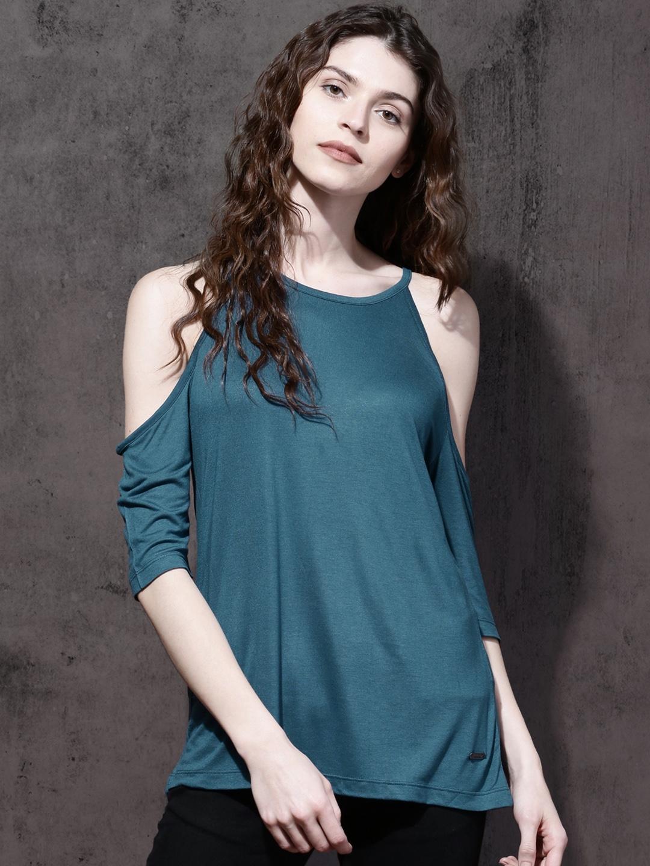 0282fe436522a8 Buy Roadster Women Teal Blue Solid Cold Shoulder Top - Tops for ...
