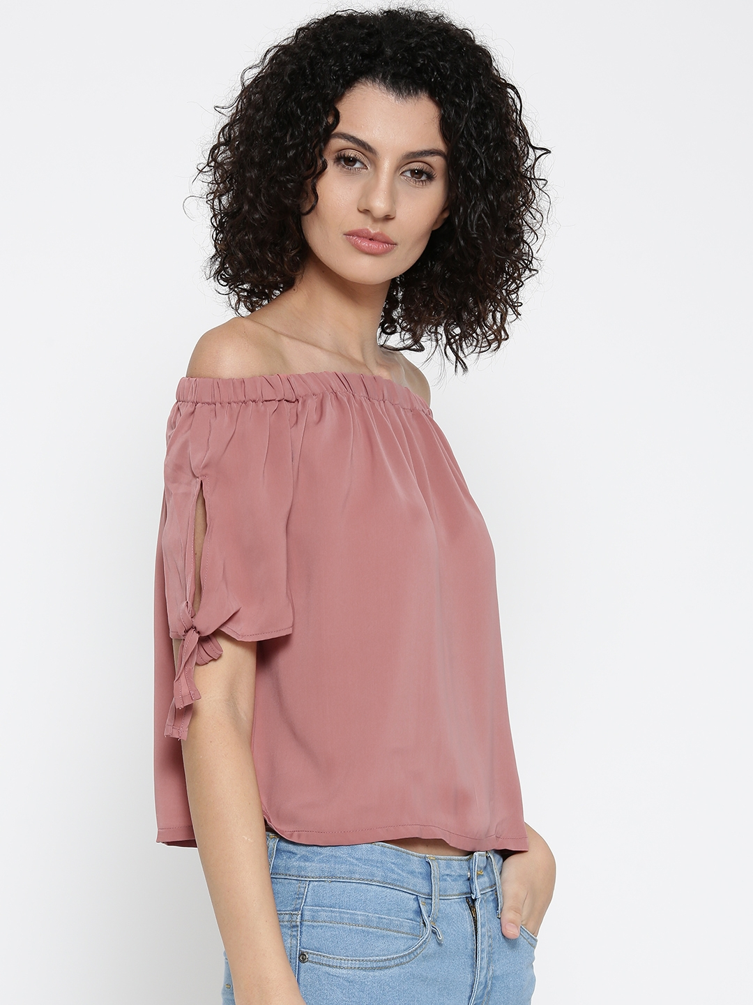 f8befa172c8ad Buy ONLY Women Pink Solid Bardot Top - Tops for Women 2108606