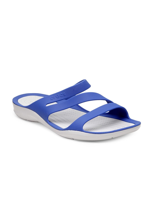485e48face53e Buy Crocs Women Blue   White Swiftwater Lightweight Croslite Slip ...