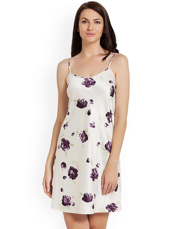 8e8b6758fd Blush by PrettySecrets Off-White and Purple Satin Nightdress PS0717SCSD3