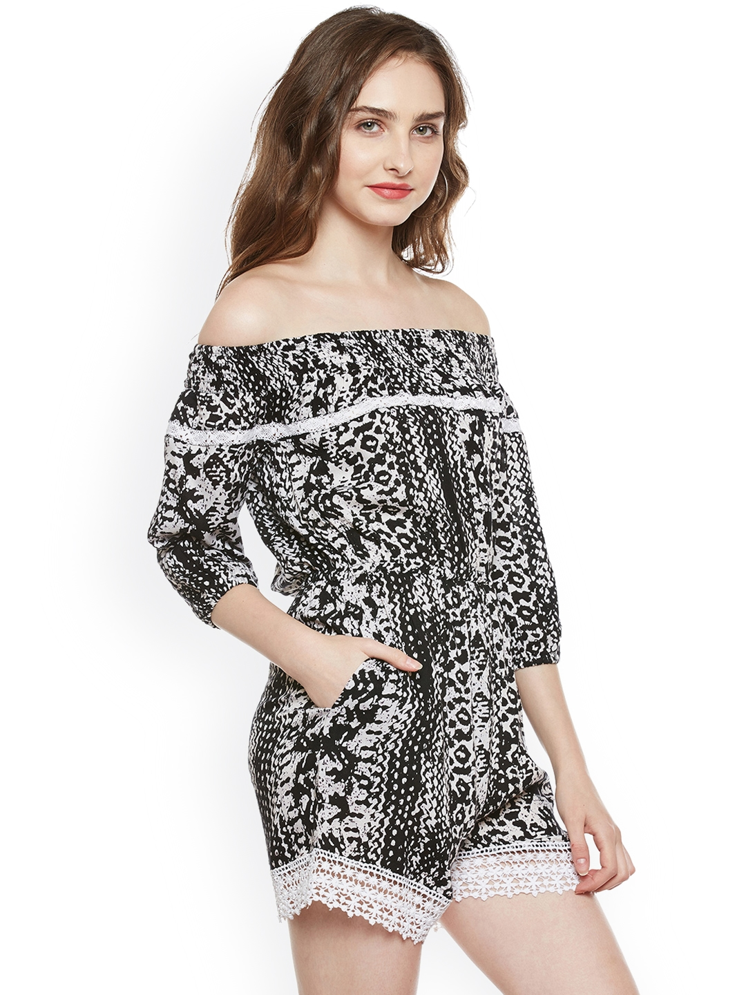 3feb4ceb0765 Buy Zastraa Black Printed Playsuit - Jumpsuit for Women 2111008