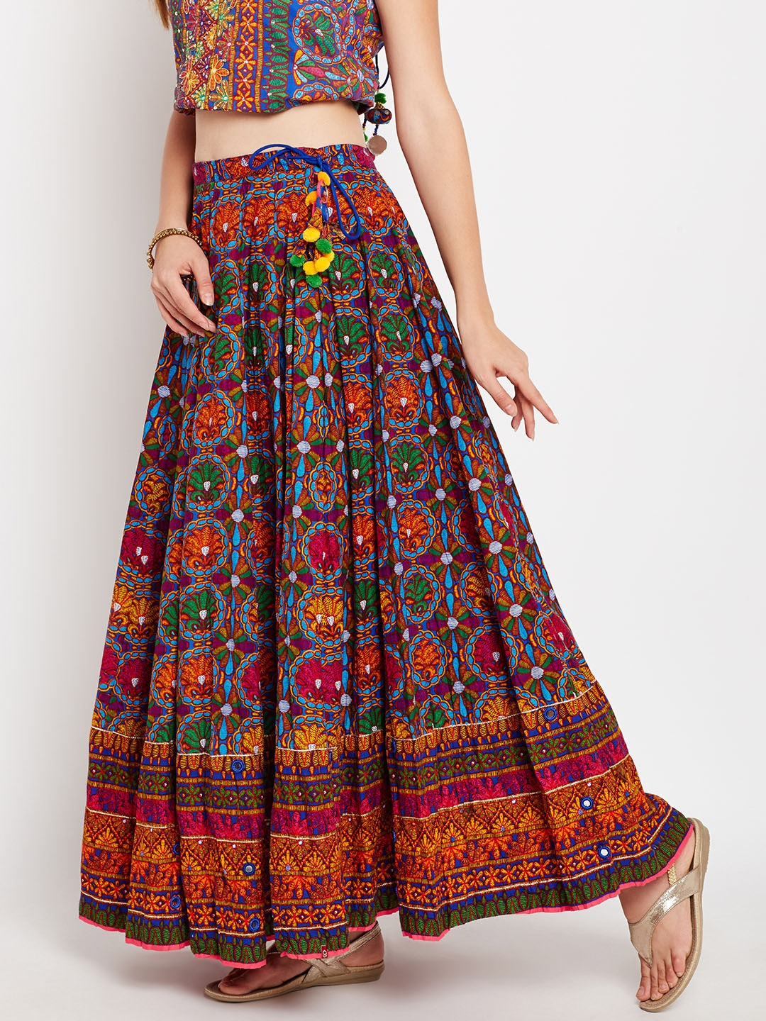 bb2e555dd5a Buy Biba Multicoloured Printed Maxi Flared Skirt - Skirts for Women ...