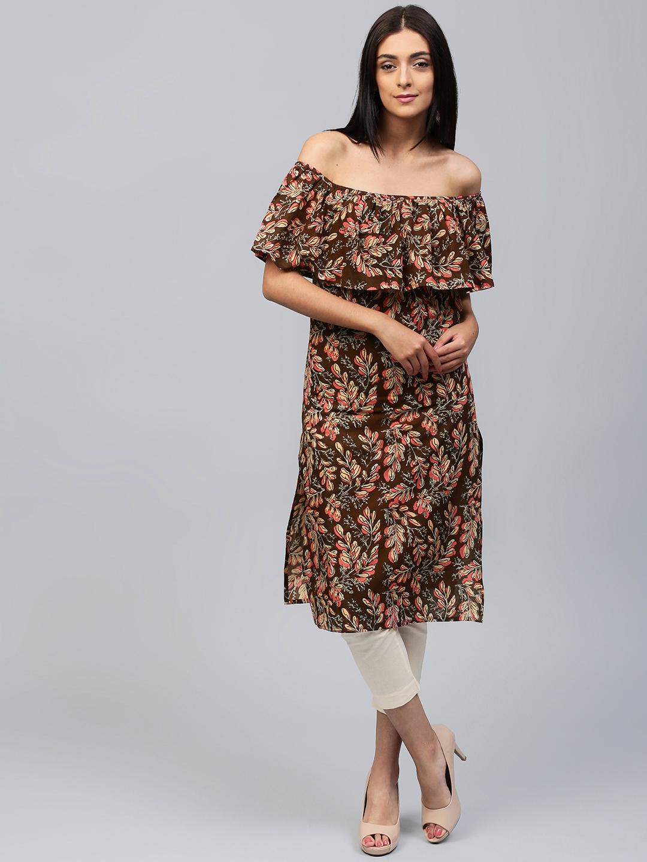 d9fdf3121ac7 Buy AKS Women Brown   Pink Floral Print Off Shoulder Straight Kurta ...