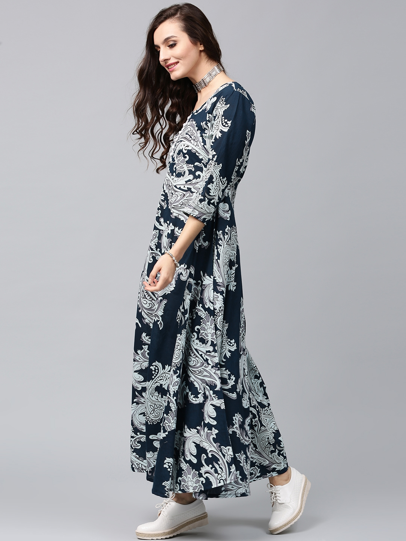 2a51f59472c Buy AKS Women Navy   Off White Lightweight Printed Maxi Dress ...