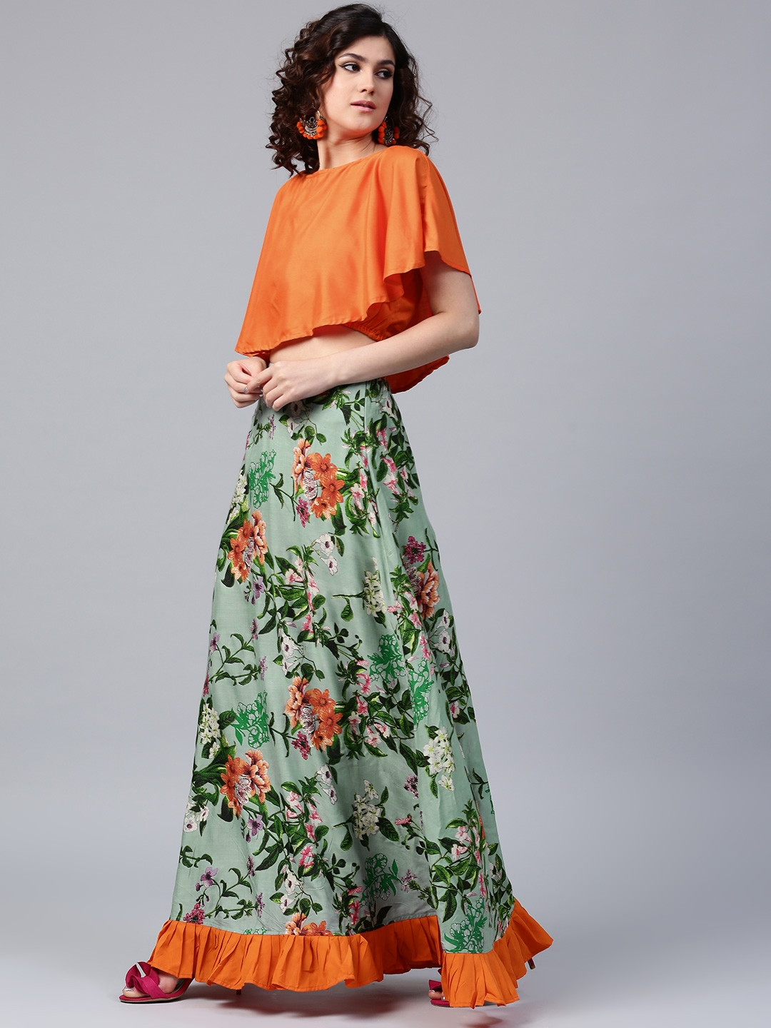 4fa7315c17 Buy AKS Orange & Green Layered Crop Top With Floral Print Maxi Skirt ...
