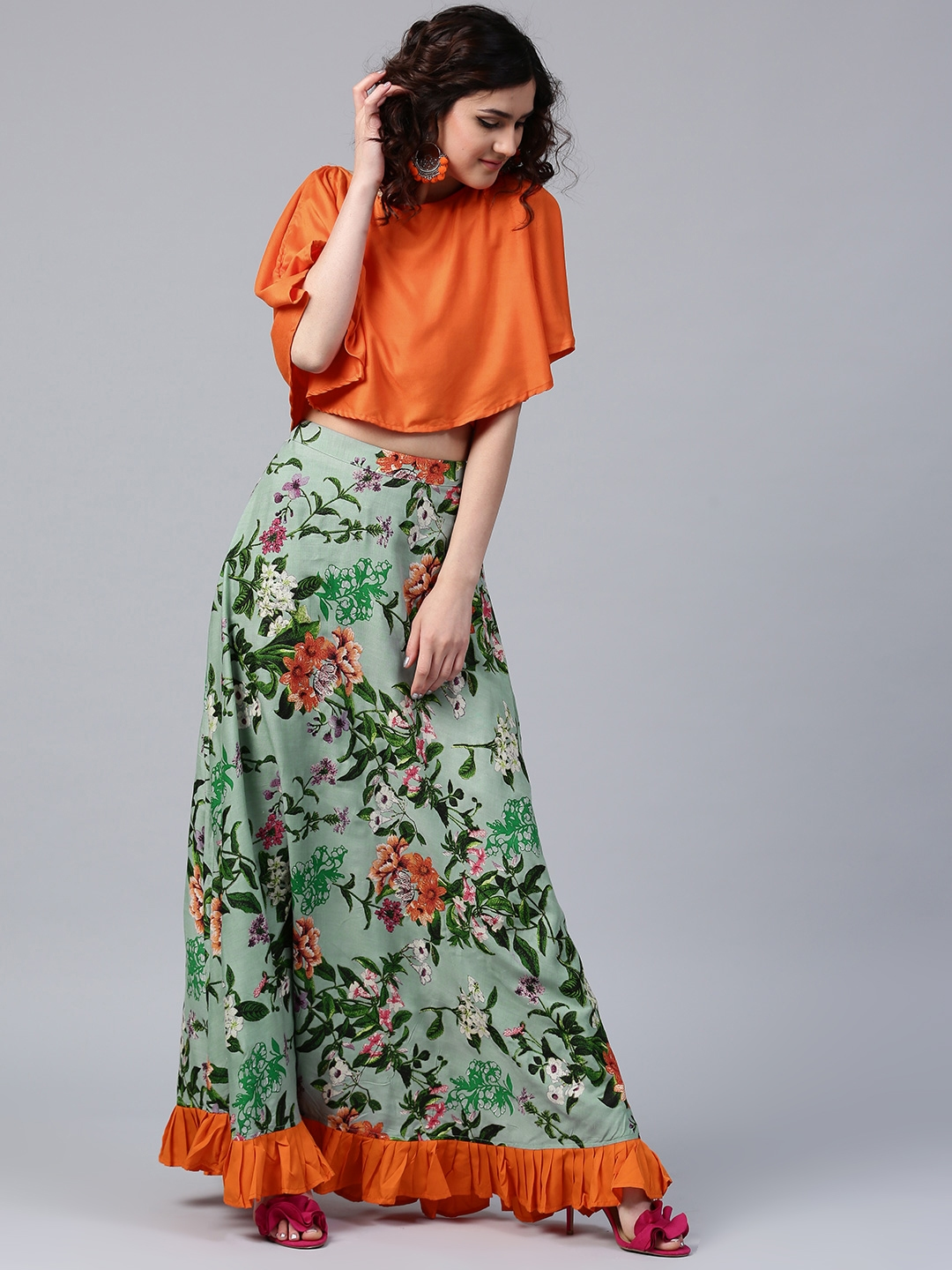 9e82524ade252c Buy AKS Orange   Green Layered Crop Top With Floral Print Maxi Skirt ...