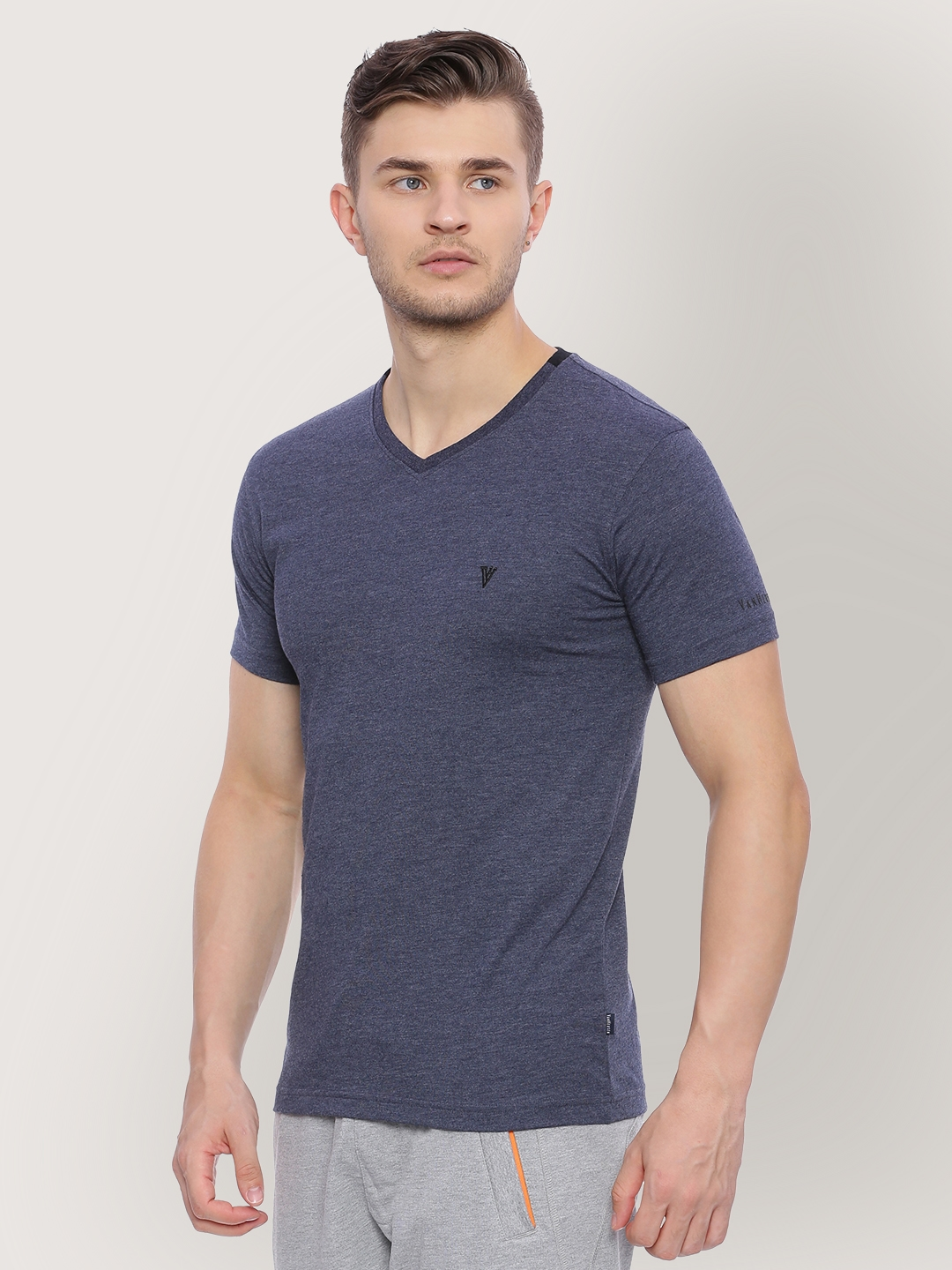 fca3480b19 Buy Van Heusen Men Blue Solid V Neck T Shirt - Tshirts for Men ...