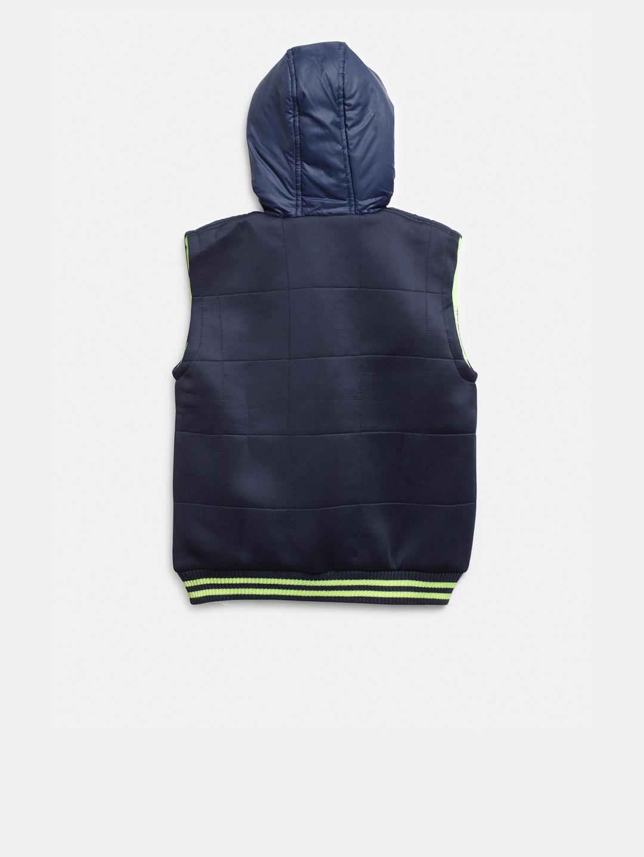 d1c212208 Buy Palm Tree Boys Navy Blue Solid Sleeveless Hooded Bomber Jacket ...