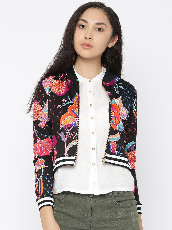 207eacd9820 Buy Global Desi Women Black Printed Bomber Jacket - Jackets for ...
